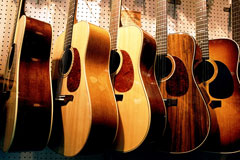 five acoustic guitars